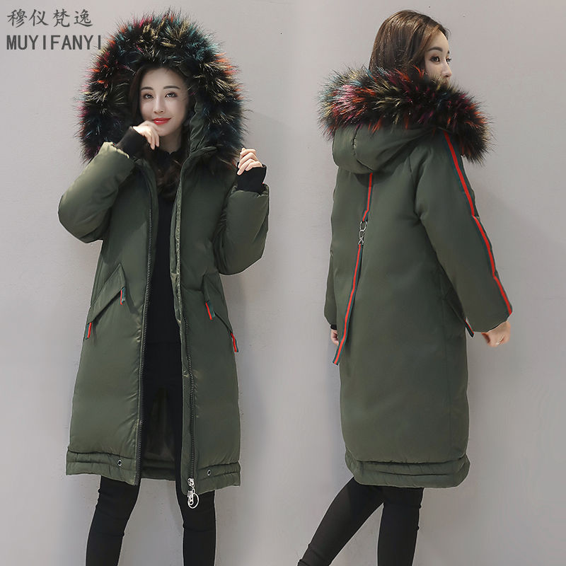New Winter Coat Women Luxury Faux Raccoon Fur Collar Hooded Down Parka Thick Warm Cotton-Padded Long Jacket Casual Outwear new winter women jacket down cotton padded coat large faux fur collar parka outwear female plus size thick warm long coats ab435