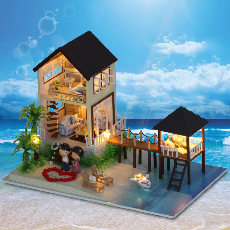 DIY Model Doll House Miniature Dollhouse with Furnitures LED 3D Wooden House Toys For Children Handmade Crafts A027 #E d030 diy mini villa model large wooden doll house miniature furniture 3d wooden puzzle building model