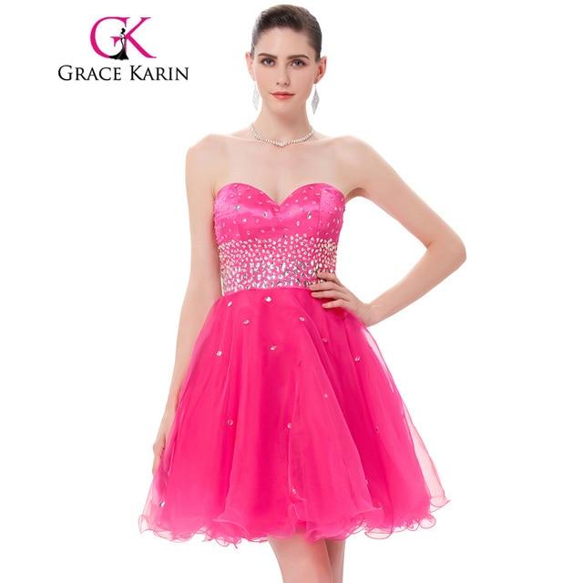 Grace karin vestidos de coctel 2017 vestidos de fiesta rosa organza ...