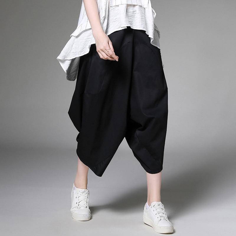 Large Size Ladies' 2019 Summer New Wide Leg Pants Loose Joker Fashion Casual Calf Length Pants Harem Pants White Turnip Pants