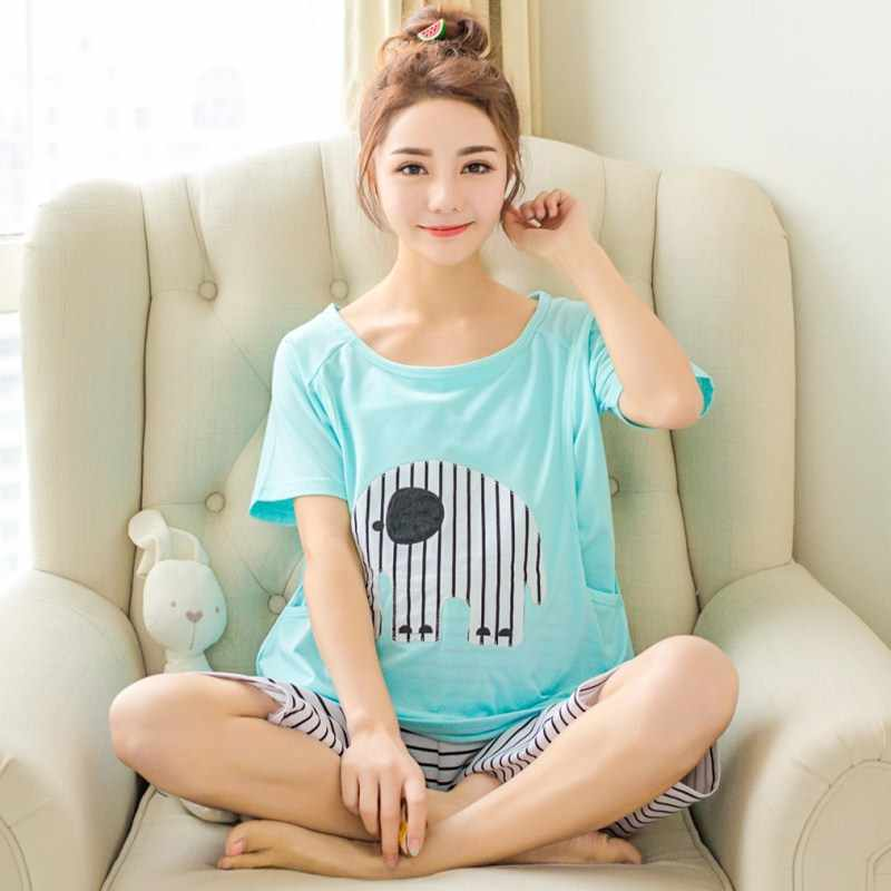 Summer Maternal Monthly pajamas Summer Cotton Short Sleeve Pregnant Women's Sleepwear Post-natal Breastfeeding Home Clothes Suit