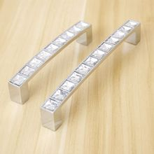 Hole Pitch 64mm/96mm/128mm Modern Crystal Glass handle drawer handle furniture pulls cabinet handle