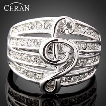 Chran Elegant Silver Color Ladies Wedding Rings Jewelry Promotion Classic Design Crystal Engagement For Women