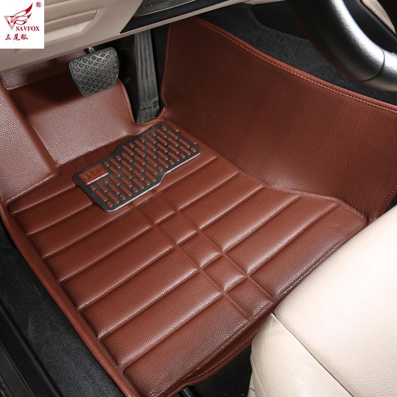 Myfmat personnaliser tapis de sol de voiture pour MITSUBISHI V3/6/7 Lancer SUBARU XV tapis de pied en cuir entièrement entouré tapis Auto tapis 2015