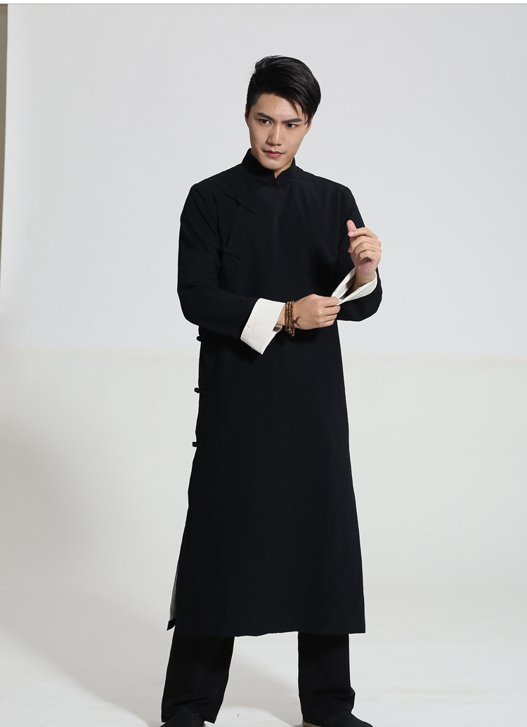 Black Chinese Men Crosstalk Sketch Storytelling Performance Clothing Long Cotton Dress Robe Gown Two Side Kung Fu Tai Chi Tops
