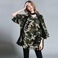 2017 Primavera Outono impressão de camuflagem T-shirt longos das mulheres plus size três quartos mangas mulheres de grande porte solto tops com cachecol