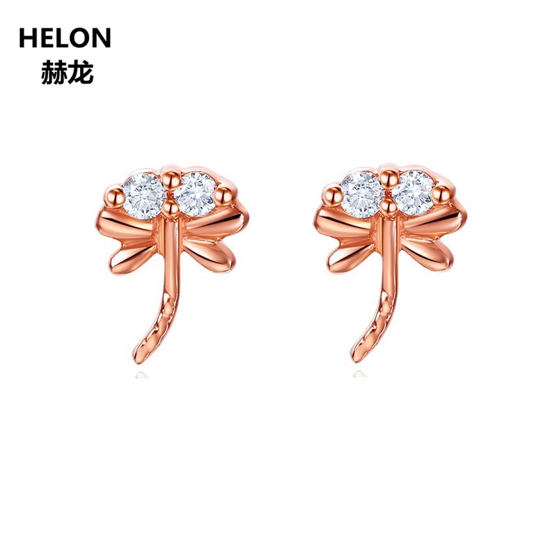 Solid 14k Rose Gold 100% SI/H Natural Diamonds Engagement Wedding Women Earrings Stud Earrings Trendy Fine Jewelry natural ruby stud earrings solid 18k rose gold women earrings engagement wedding valentine gift fine jewelry trendy unqiue heart