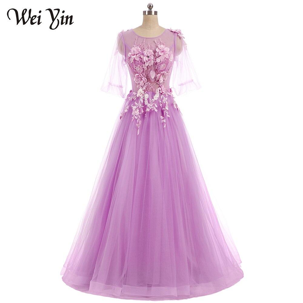 Weiyin nueva flor romántica Hada vestido de novia banquete Encaje ...