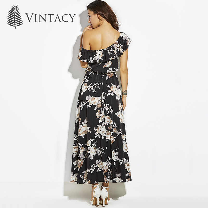 9acbe9d58d ... Vintacy Long Dress Black Print Floral One Shoulder Ruffles Summer Beach  Dress Women Pleated Elegant Party ...