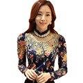 Diamantes decoração Lady moda tamanho M-2XL coreano Beading mulheres blusas