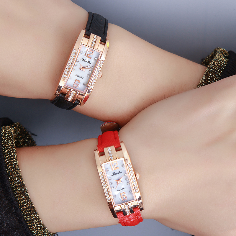 Luobos New Fashion Watch Women Slim Leather Strap Rectangle Casual Quartz Watch Ladies Popular Dress Watch Relogio Feminino