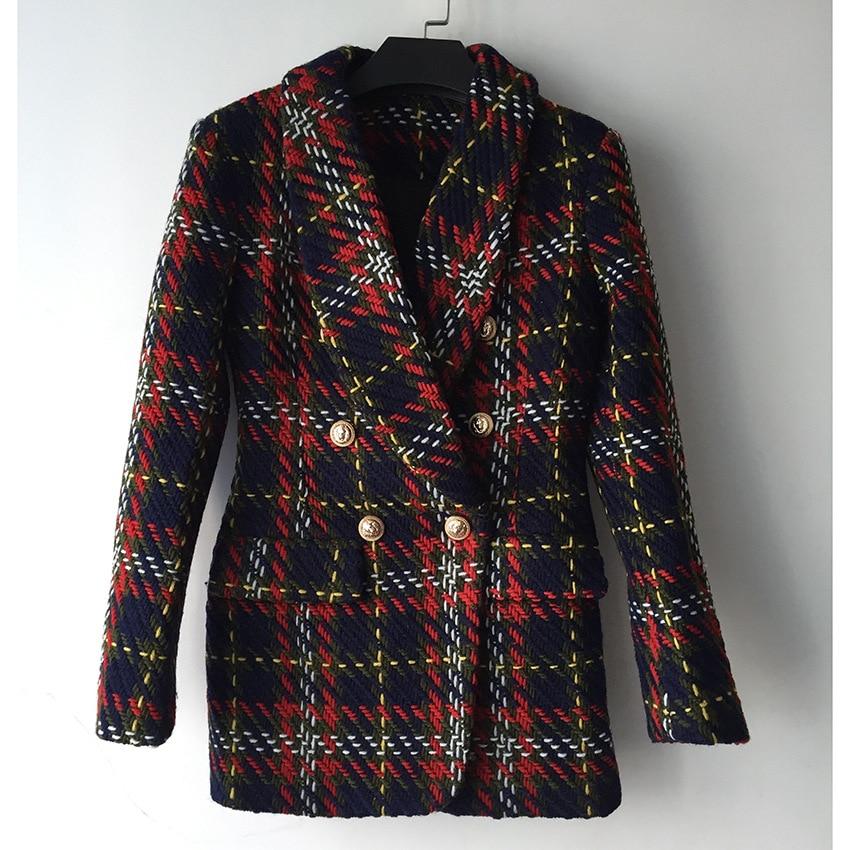 Femmes Rouge Vintage Vestes De Ol Qualité Blazer Outewear Manteaux 2018 Hiver Tweed Haute Laine Plaid Breasted Designers Élégant Double Et fHZwtZ