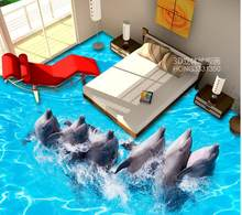 Ocean World Dolphin Dance Floor Schilderij 3d behang waterdichte pvc zelfklevend behang(China)