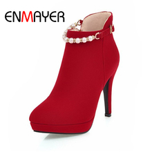 ENMAYER  Women Shoes Flock Platform Zipper High Heels String Bead Solid Round Toe Thin Party Dress Red Boots