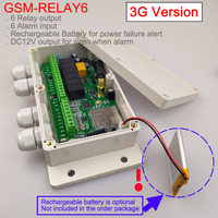 3G Version / GSM Six relay output remote switch board (SMS Relay switch) Battery on board for power off alarm