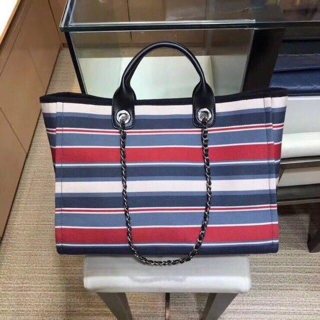 Роскошная дизайнерская холщовая и кожаная сумка большая женская сумка шоппер наивысшего качества в полоску известная брендовая Сумка тоут