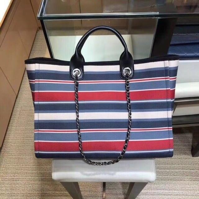 Luxury Designer Handbag Canvas&Leather Bag Large Women Shopper bag TOP QUALITY Stripe Famous Branded Tote Bag 2018 top quality canvas pattern women tote bag