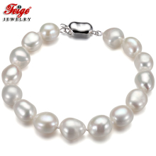 Feige Simple style Pearl Bracelet 10-11mm White Baroque Natural Freshwater Pearl bracelets & bangles for Women's Fine Jewelry nymph seawater pearl bracelets fine jewelry near round natural pearl bangles for women gold trendy anniversary gift [s308]
