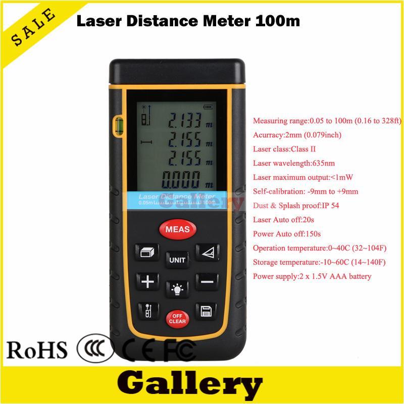 Цифровой лазерный дальномер 100 м 328ft с инструментом пузырьковый уровень rz100 измерения Клейкие ленты для области/объем м/В/ ft rangefind дальномер