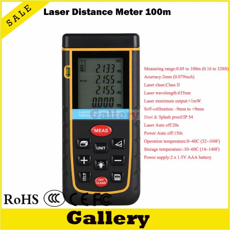 digital laser rangefinder 100m 328ft with Bubble Level Tool RZ100 measure Tape for Area/Volume M/in/Ft Rangefind Range finder free delivery level 24 in lightweight hard plastic 3 bubble triple ruler measure tool