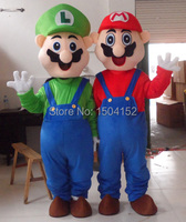 New Adult Size Super Mario and Luigi Mascot Costume Fancy Dress free shipping