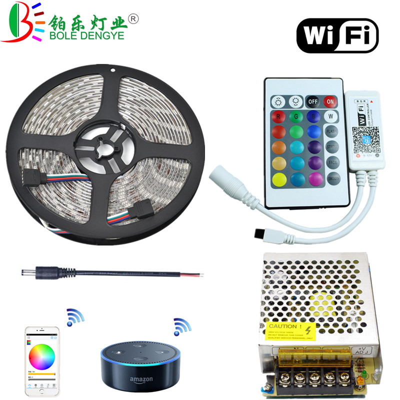 WiFi RGB LED Strip Light 5M SMD 5050 Waterproof LED Fita Tape 12V 60 leds/m String Rope Lamp+WiFi LED Controller+12V 5A Power