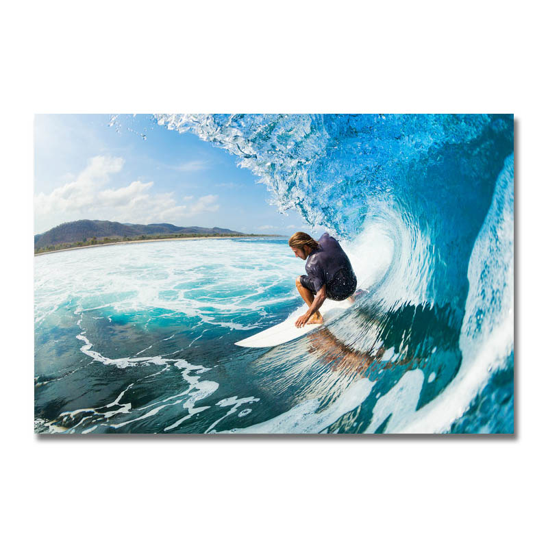 Art Silk Or Canvas Print Surf landscape Poster 13x20 24x36 inch For Room Decor Decoration-001