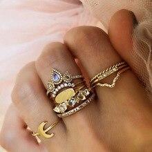 Nuevo anillo de oro Retro para mujer, Gema de imitación de Luna Multicolor, 8 unids/set para mujer, diseño bohemio, SP-68 de anillo Vintage