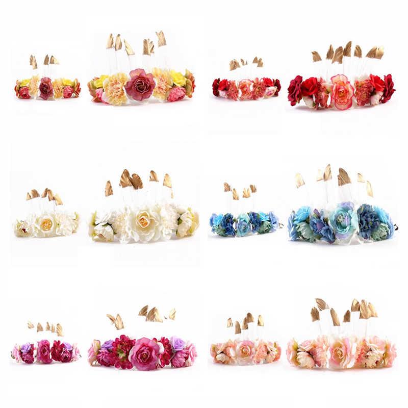 写真の小道具女の赤ちゃんママ花クラウン帽子親子羽 Hairwear 家族マッチングカチューシャウェディングパーティーアクセサリー