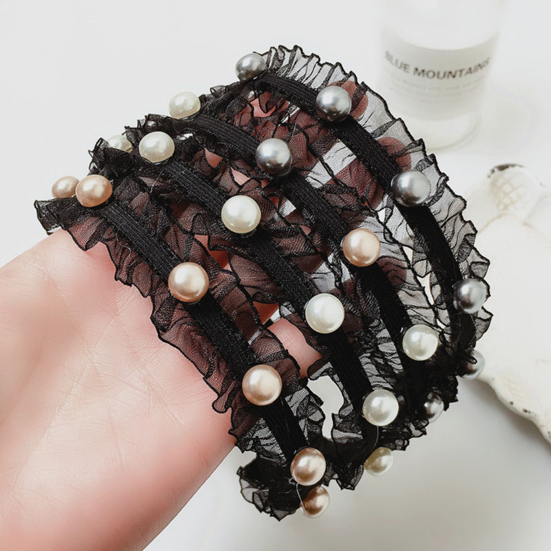Black Lace Pearl Beads Hairbands For Women Korean Headband Tassel Turban Charm Female Hair Hoop Girls Hair Accessories Headwear in Women 39 s Hair Accessories from Apparel Accessories