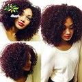 7а Uprocessed Бургундия Weave Бразильский Kinky Вьющиеся Волосы Девственницы 8 дюймов Красное вино 99j Уток Волос Вьющиеся Переплетения Человеческих Волос продукты