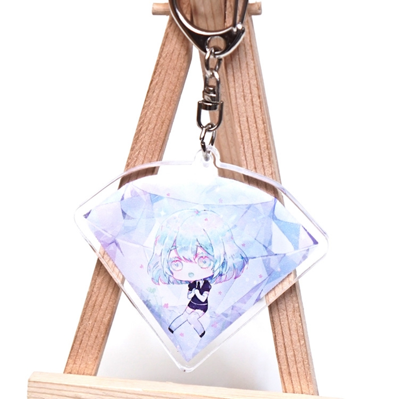 Anime Houseki No Kuni Phosphophyllite Cinnabar Pendant Keychain Keyring Key Rings New double sided Key Chains