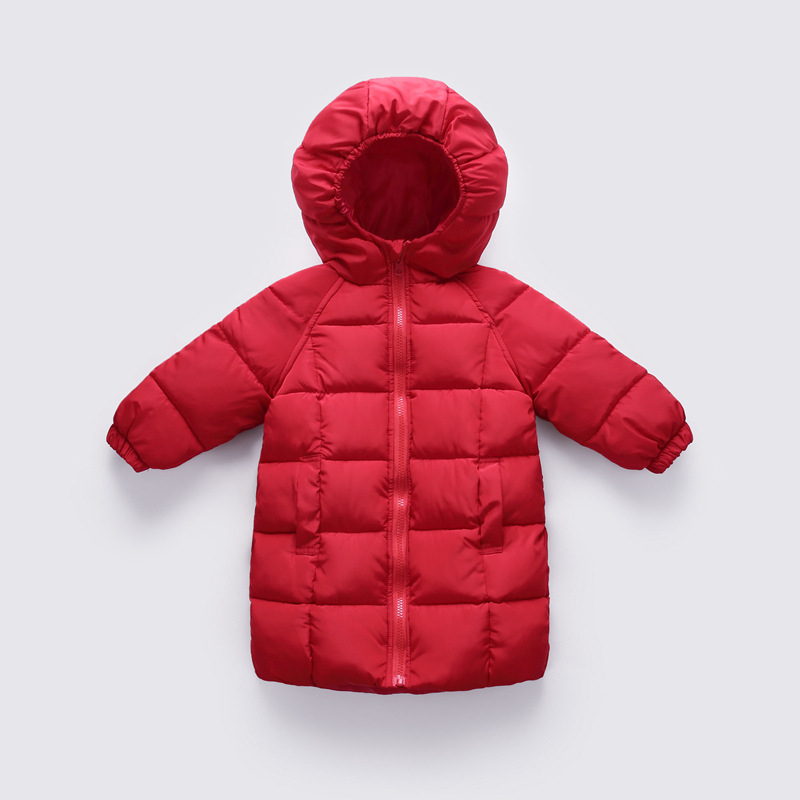 96c07489c56 2018 fashion Children White duck down Jackets Girl Baby Warm Clothes autumn  winter Long section Coat