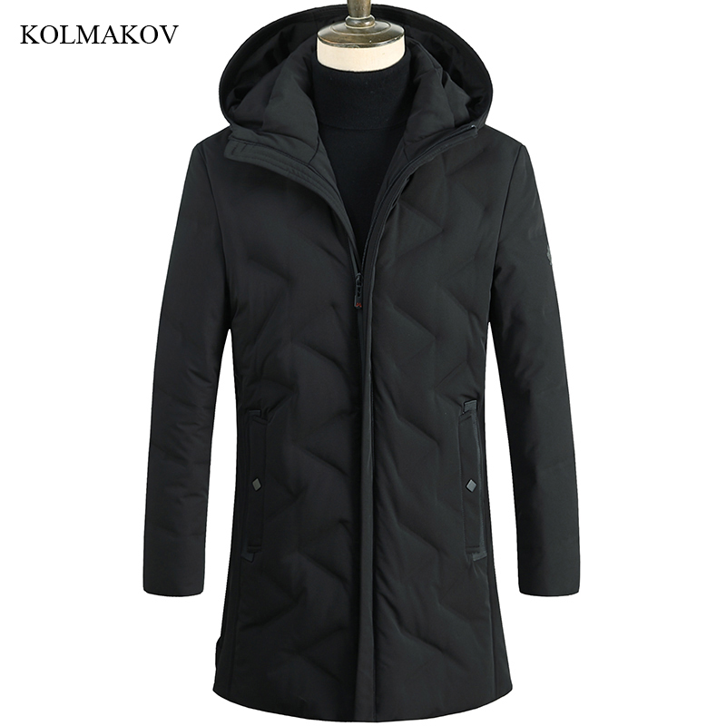 2018 New Arrival Winter Style Men Boutique Long Black   Down     Coats   Business Casual Hooded Solid Thick Warm   Down     Coat   Size M-3XL