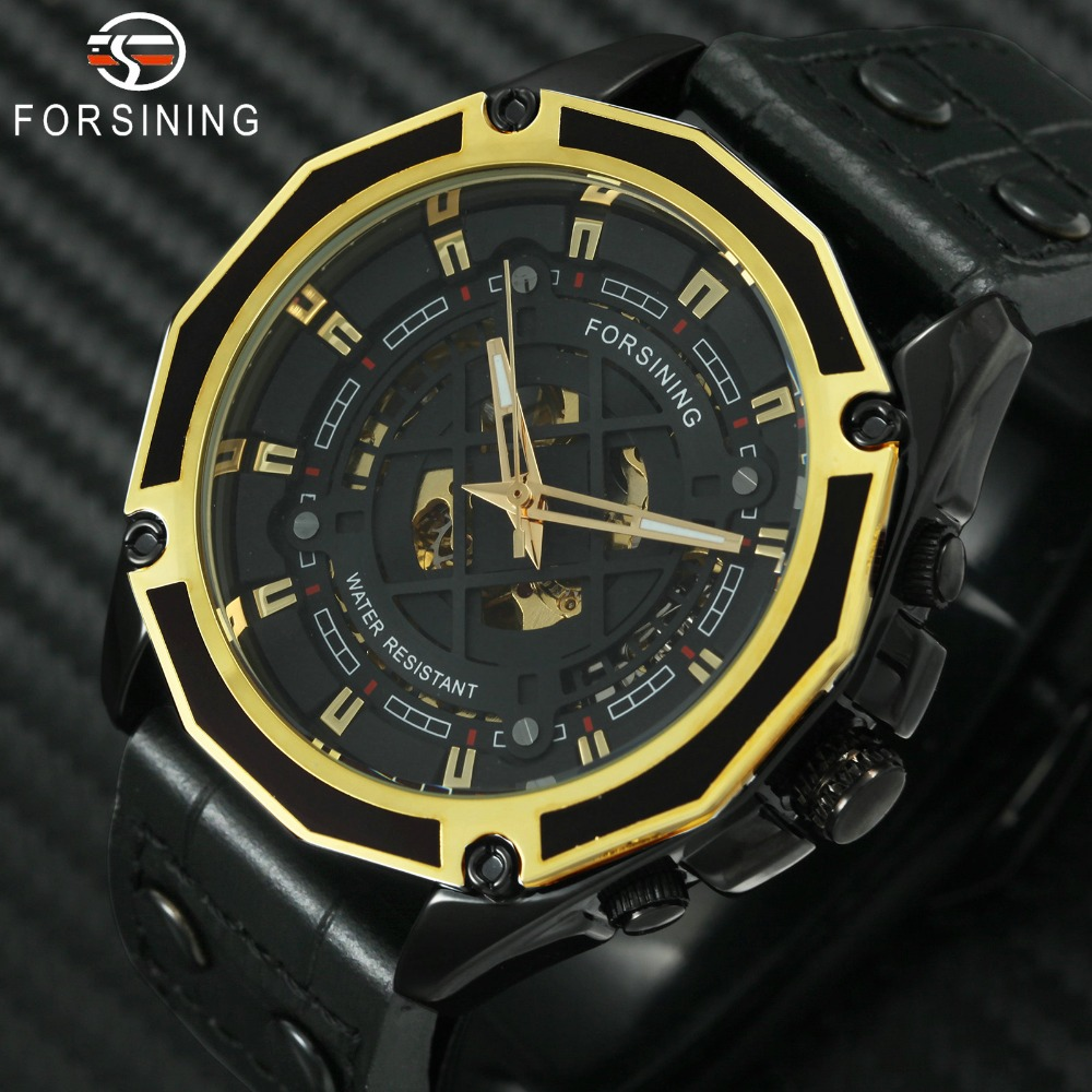 FORSINING Automatic Mechanical Mens Watches Top Brand Luxury Skeleton Dial Genuine Leather Strap Fashion Wristwatch Waterproof sollen mens watches top brand luxury moon phase automatic mechanical watch men casual fashion leather strap skeleton wristwatch