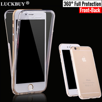 LUCKBUY 360 Full Body Protection Phone Cases for Iphone 8 7 6 6s 5S Plus Case Silicone Cover for iPhone X Case Coque 100PCS/Lot