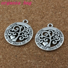 MIC Mom You Are The Heart Of Our FamilyTree Life charm Pendant 50Pcs/lot Hot sell Antique Silver Jewelry DIY 23mm A-176