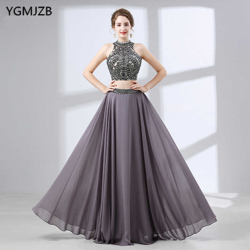 639695a854 Backless Long Evening Dresses 2018 A-line High Neck Sleeveless Beaded  Crystal Chiffon African Style