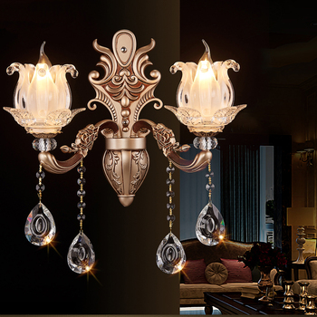 European style wall lamp dining room double zinc alloy background wall crystal lighting aisle bedroom bedside lamp