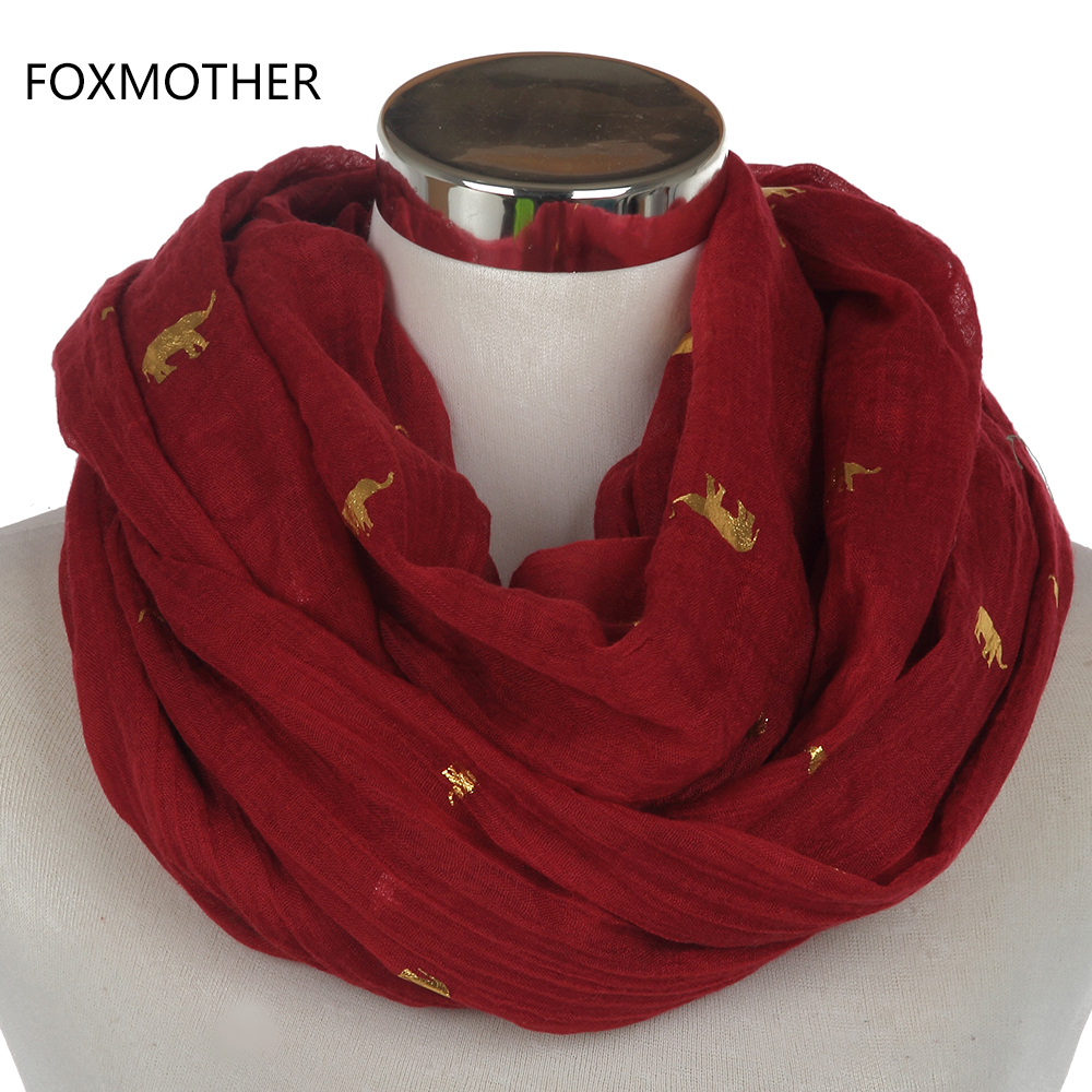 FOXMOTHER 2018 New Winter  Ladies Fashion Dark Red Elephant Bronzing Gold Scarves Loop Shawl Echarpe Muffler For Womens Ladies