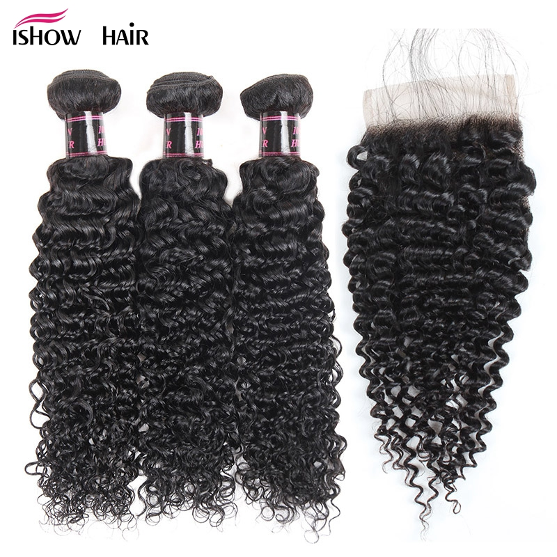 Ishow Kinky Curly Weave Human Hair Bundles with Lace Closure Non Remy Hair Extensions Peruvian Hair