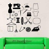 Портной Atelier стены наклейки шитье для Для женщин Наклейки на стены съемный высокое качество виниловые обои Книги по искусству плакат наклей...