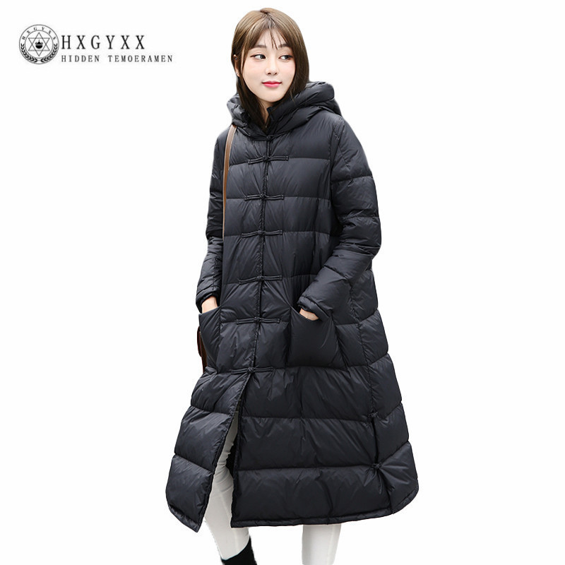 a1073702190 2019 Winter Warm White Duck Down Coat Women Puffer Jacket Plus Size Hooded  X long Down Parks Frog Button Padded Outerwear Okb93-in Down Coats from  Women's ...