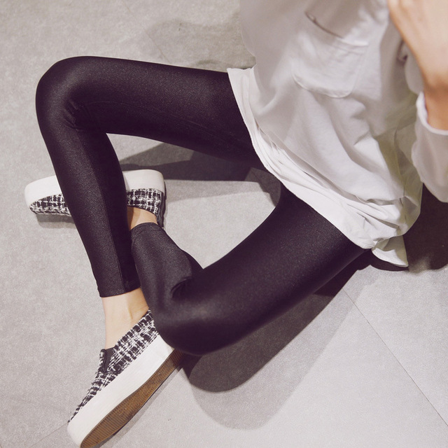 2018 Womens New Glossy Shiny Black Leggings Stovepipe Pants High Elastic Slim Legs Sexy Leggings Body Shaper Leggings For Women 6