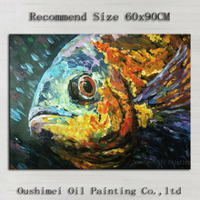Handmade Modern Mural Picture on Canvas Wall Art Abstract Fish Animals Painting Hang Paintings For Room Seascape Oil