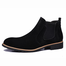 купить New Men Chelsea Boots Ankle Boots Fashion Men's Male Brand Leather Quality Slip Ons Motorcycle Man Warm Leather Shoes дешево