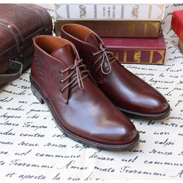 Sipriks Marka Erkek Koyu Kahverengi Çöl Çizmeler Lüks Buzağı Deri yarım çizmeler Klasik Dantel Up Inek deri ayakkabı Goodyear Welted