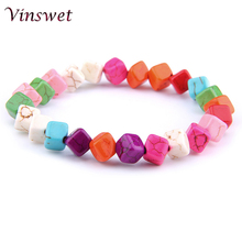 Lucky 7 Chakra Bracelet Rainbow Natural Quart Turquois Hematite Healing For Women Jewelry Gift