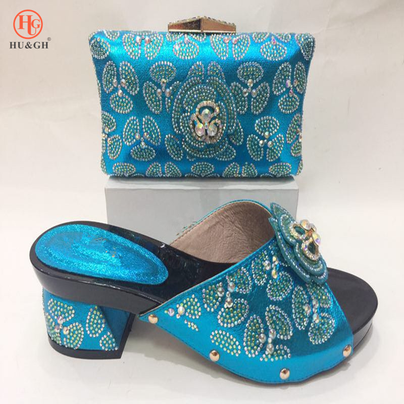 Blue Color Ladies Party Shoes with Matching Bags Set Nigerian Shoes and Matching Bags African Wedding Shoes and Bag Sets Italian