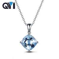 QYI Natural sky Blue Topaz 925 Sterling Silver Solitaire Necklaces 2.5 ct Cushion cut Gemstone Necklaces Pendants For Women